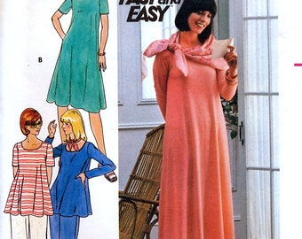 Butterick 4829 Vintage 70s Misses' Maternity Dress, Top, Pants and Scarf Sewing Pattern - Uncut - Size 8 - Bust 31.5