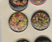 Russian Folk Art Number 2 Set of 6 Designed Image Steampunk Themed Handmade Plastic Sew Through Buttons for Crazy Quilt and Paper Crafting