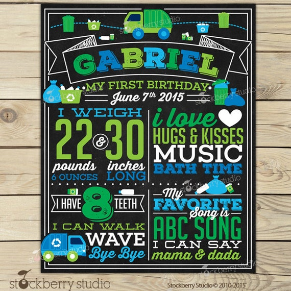 Garbage truck first birthday chalkboard sign printable boy 1st il570xn filmwisefo Image collections