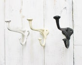 Shabby Chic Wall Hook-Metal Hook- Small Petite Cast Iron-Set of 3-Ornate-Cottage Chic French Country-Coat Hanger-Garden Tools-Home