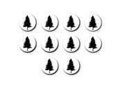 10 pcs, 12mm Cabochon, Glass Cabs, Glass Dome, Glass Cabochon, Jewelry Making, Wholesale, Pine Tree, Silhouette, Woodland, C1057