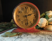 Vintage / Antique Urban Industrial Westclox Alarm Clock with Red Chippy Paint / 1927 Red Baby Ben Deluxe Alarm Clock