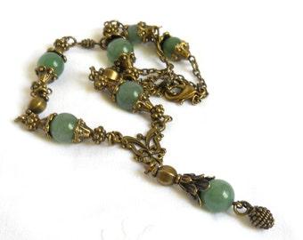 green victorian necklace green aventurine necklace green aventurine pendant necklace green necklace green stone necklace vintage style