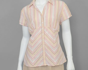 25% OFF - 90s Blouse Chevron Striped Blouse 1990s Shirt Empire Waist Cotton Blouse Peach Red White Beige Metallic Blouse Chevron Blouse