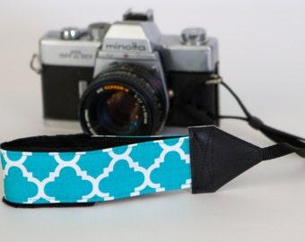 Camera Wrist Strap - DSLR Camera Strap - Blue Camera Strap - Padded Camera Strap - NIkon Strap - Sony Camera - Turquoise Quatrefoil