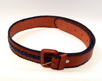 Guatemala Braided Leather Belt Vintage Filigree Tooled Leather Belt Whipstitch Contrast Navy and Brown Belt 1970s 1980s Small 26 to 28