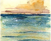 Fire on the Lake print of watercolor by Mary Blocksma 8x10 Mat