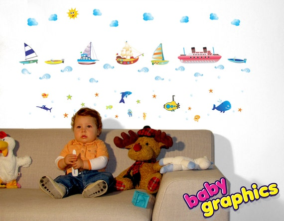 boats, ships, ocean/ sea life wall stickers scene - removable (by babygraphics)