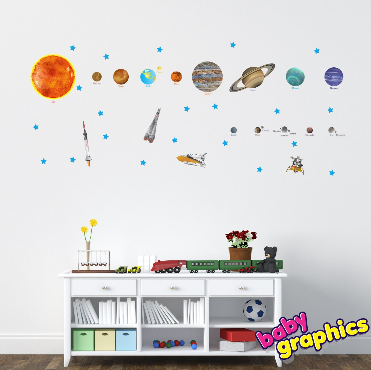 Solar system wall decals vinyl stickers removable zoom amipublicfo Gallery