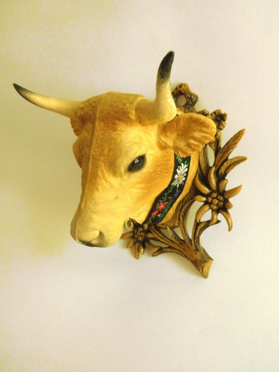 Vintage French Cow Head Wall Decor French Country