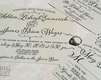 Trendy Type Wedding Invitations, Kraft paper background. Kraft wedding invitations. Fun lettering wedding invitations