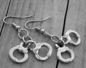 Silver Handcuff Earrings Handcuff Jewelry Silver Handcuffs Cops Police Officer Cop Heavy Metal Rock n Roll Rocker Rock and Roll Punk Rock