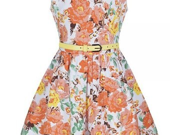 New Children's Girls Vintage Style Peach Garden Floral Swing/Party Dress 50s Style Rockabilly