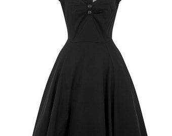 New Vintage Style Elegant Black Dolores Swing Dress Rockabilly Pin Up 50s