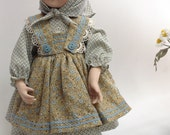 Country Peasant Cotton Doll Dress fits 14 inch porcelain dolls 5 pieces