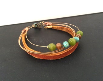 Guitar String and Leather Bracelet - layered bracelet - copper and bronze - for teens and adults - recycled/upcycled jewelry - under 35.00
