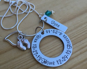 Beautiful Hand Stamped Adoption necklace, Born, Home, Forever, great keepsake