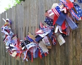 Patriotic Bunting, Red White Blue Bunting, Military Banner, Patriotic Decor, Photo Prop, Ribbon Banner, Fabric Garland, Party Banner