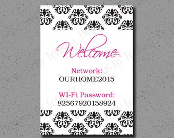 Wi-Fi Password Sign, Wi-Fi Password, Guests Room, Internet Password, WIFI, Password Sign, Guests Room Decor, Print, WiFi Password, Custom