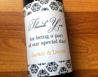 Thank You Wine Labels, Wedding Reception, Bridal Shower, Bridal Party, Table Numbers, Favors, Decor, Sticker, Wedding Wine, Wedding DIY
