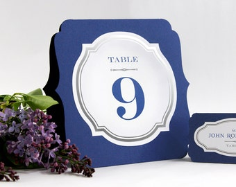 Table Number Tents - Two-Sided Elegant Die Cut Bracket Number Cards, Large layered wedding signage, Self-standing or Flat, Choice of Colors