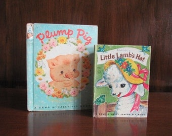 """Vintage 50's """"Plump Pig"""", """"Little Lamb's Hat"""" - 1952-1956 - Rand McNally Elf Book - Children's Picture Books - 50's Books"""