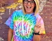 Monogram Tie Dye Shirt - Rainbow - Short Sleeve - Sorority Gift  - Bridesmaid Gift