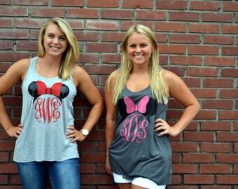 Minnie Mouse Monogram Tank - Shirt - Disney Vacation - Mickey