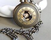 Brass Personalized Mens Pocket Watch,Mechanical Pocket Watch,Steampunk Pocket Watch,Pocket Watch Chain,Groom Gift,Groomsmen Gift