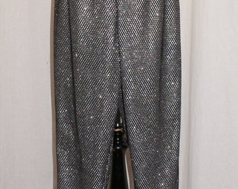 Super sparkly vintage 1950s inspired black fishnet over silver lurex stretch capri pants xxs to xl rockabilly pinup VLV