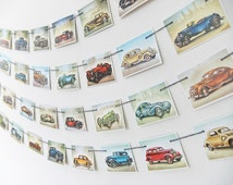 Vintage Cars Bunting, Wall Hanging, Recycled Banner. Travel garland. Office Decor, Vintage Cars Pennants - Cars Banner