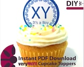 DIY It's a Boy Cupcake Toppers Digital Download