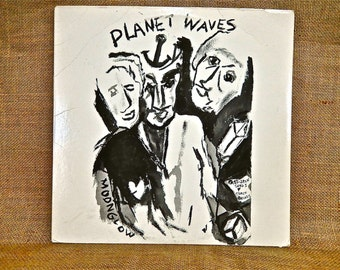 BOB DYLAN with the BAND - Planet Waves - 1974 Vintage Vinyl Record Album...W/Wrap Around (Olive Green) Second Cover