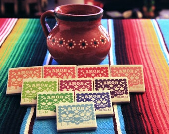 Papel picado wedding favors Day of the Dead, 50 tile magnets sugar skull