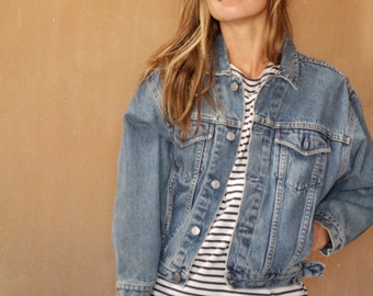 blue DENIM FADED jean jacket cropped coat