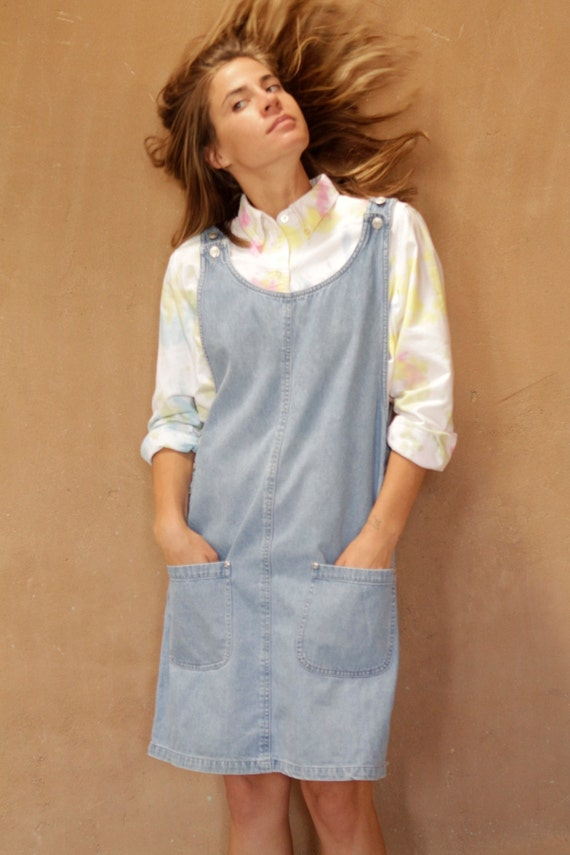 90s BLUE denim jean JUMPER overall OXFORD faded by ZiaVintage