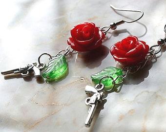 Gun and Rose  Earrings Red Green Leaf  Western Cop Pistol Chain Cowgirl EXGALABUR
