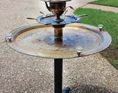 Repurposed Upcycled Recycled Bird Feeder Water Fountain Party Patio Porch Party Tray Bird Cafe Table Pedestal Tier Vintage Found Items