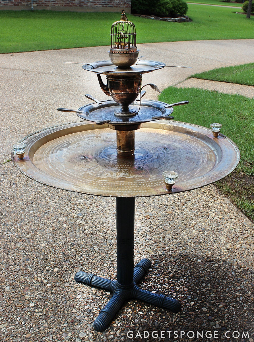 Repurposed upcycled recycled bird feeder water fountain party for Upcycled bird feeder