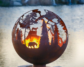 "High Mountain Fire Pit - 30"" DYO Custom Outdoor Hand Cut Steel Firepit Sphere"