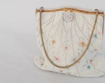 French Clutch Purse Hand Beaded 1950s