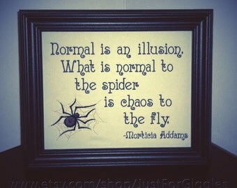 """Morticia Addams quote """" Chaos """" Wallhanging Framed Embroidery 8x10 inch - adjustable in color"""