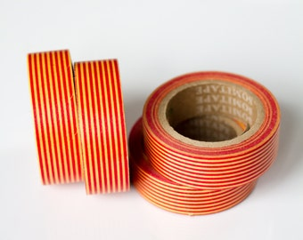 WASHI TAPE CLEARANCE - 1 Roll of Red and Yellow Pinstripes Masking Tape / Japanese Washi Tape (.60 inches x 33 feet)
