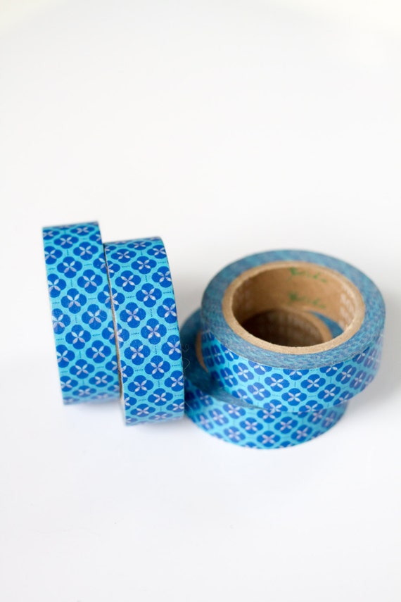 1 Roll of Blue Flower Patterned Washi Tape / Decorative Masking Tape (.60 inches wide x 33 feet long)