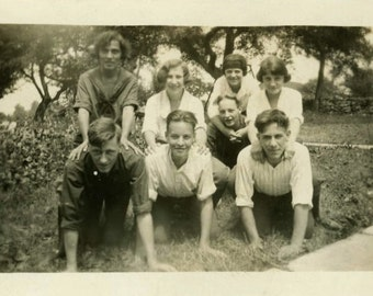 "Vintage Photo ""High School Friends"" Hands Knees Snapshot Photo Old Antique Photo Black & White Photograph Found Photo Paper Ephemera - 13"