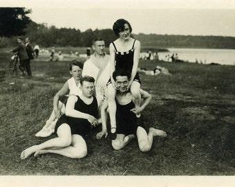"Vintage Photo ""The Lake Gang"" Bathing Suit Beach Snapshot Photo Old Antique Black & White Photograph Found Paper Ephemera Vernacular - 121"