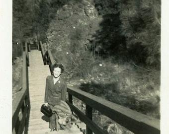 "Vintage Photo ""Walkway Shadow"" Woman Photographer Snapshot Photo Old Antique Photo Black & White Photograph Paper Ephemera Vernacular - 102"
