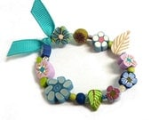Blue mauve green GIRLS Stretch BRACELET, children jewelry, handmade in polymer clay - with flower and leaf beads - light blue turquoise
