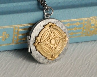 Mixed Metal Medallion Locket Necklace, vintage silver gold renaissance pendant photo picture birthday anniversary gift gifts for her woman