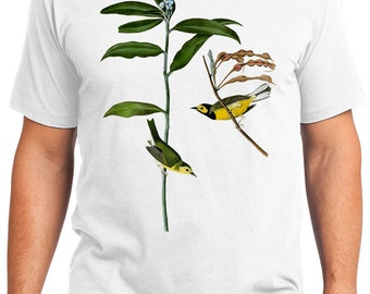 Hooded Warbler Birds Retro Men & Ladies T-shirt - Gift for Bird Lovers and Ornithologist (idc110)